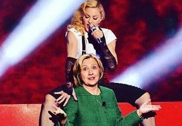 Вслед за Кэти Перри, в поддержку Хилари Клинтон оголилась Мадонна