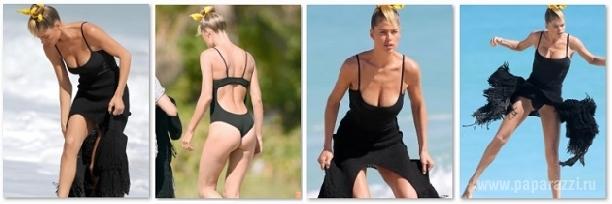 Даутцен Крез засветила грудь во время фотосессии на пляже