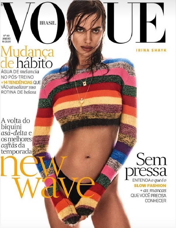 Надев пляжные наряды, Ирина Шейк снялась в фотосессии для Vogue