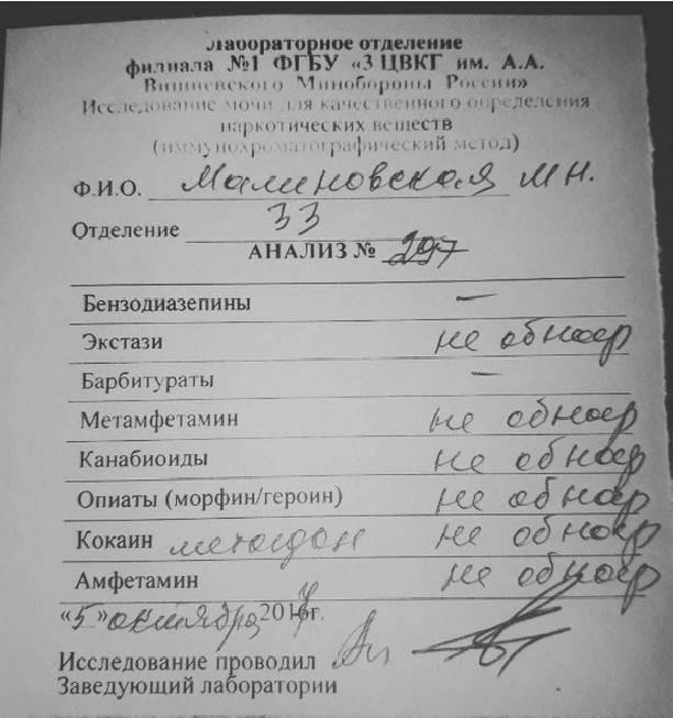 Маша Малиновская показала справку, что неявляется наркоманкой