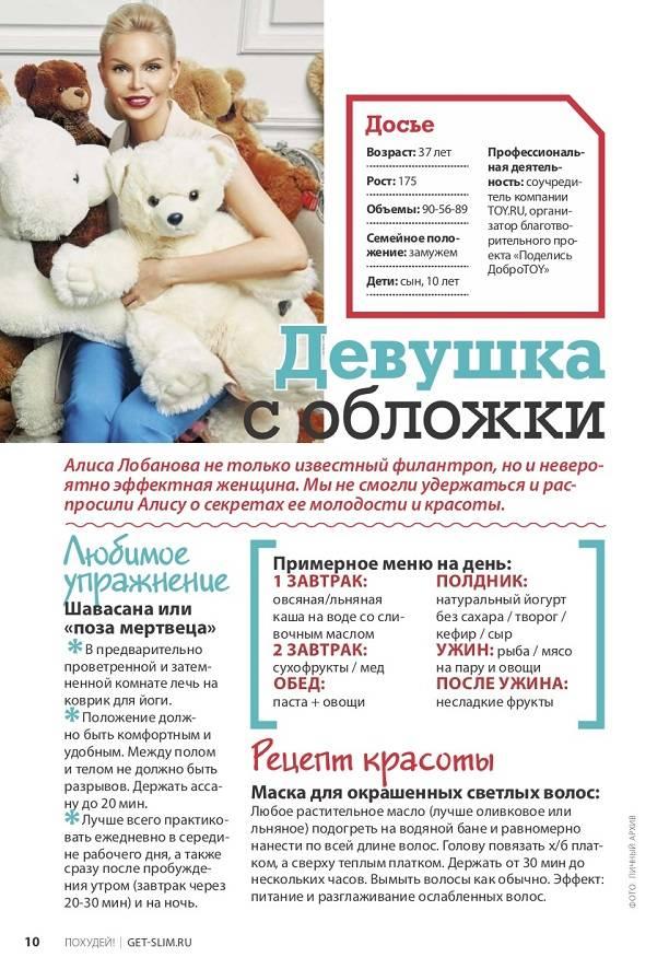 Алиса Лобанова поделилась рецептами красоты