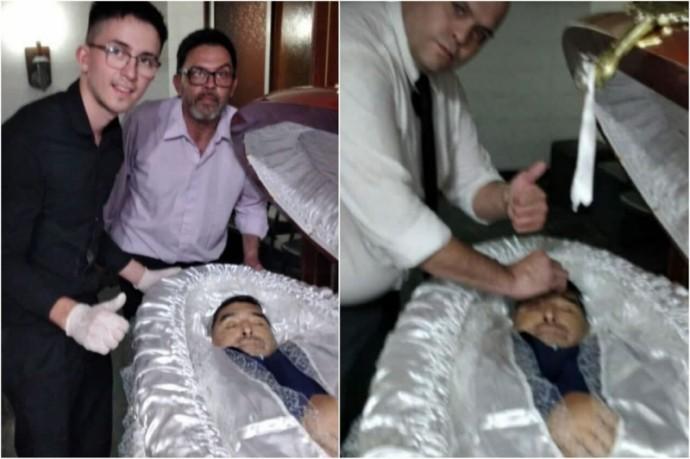 Сотрудники похоронной службы устроили фотосессию с мертвым Диего Марадонной