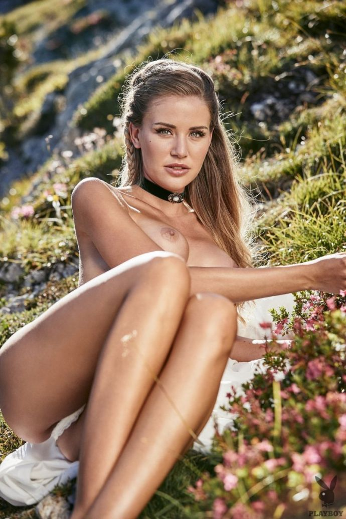 25-year-old adorable Julia Prokopi in a village photo shoot for Playboy