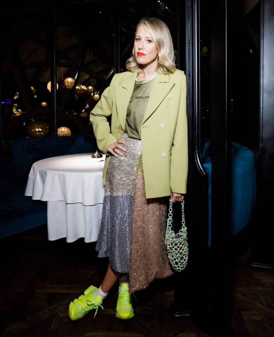 Rating of the day: Ksenia Sobchak's outfit and her acid-colored sneakers were criticized to smithereens
