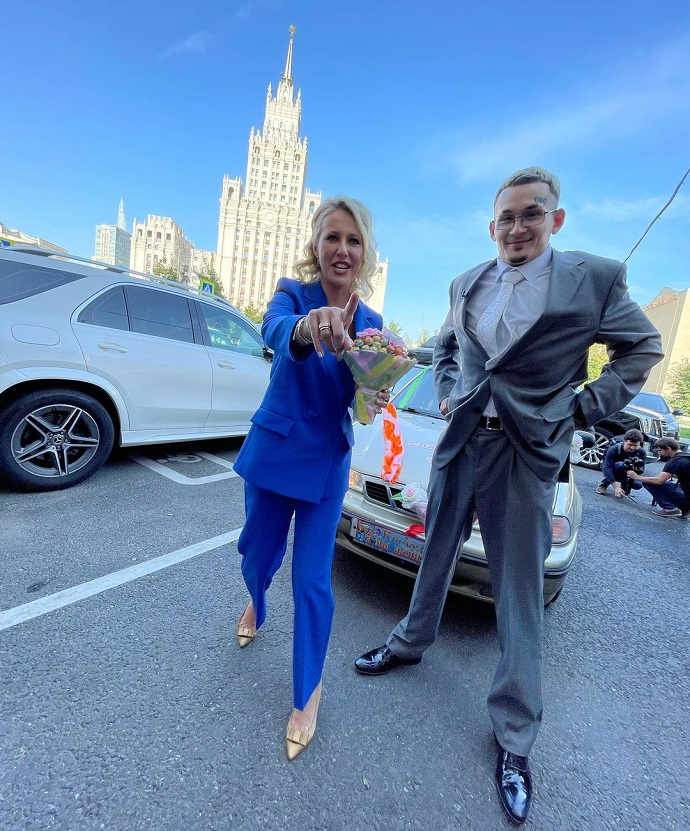 Ksenia Sobchak became the host at Morgenstern's wedding, and a horse was already brought to the wedding ship