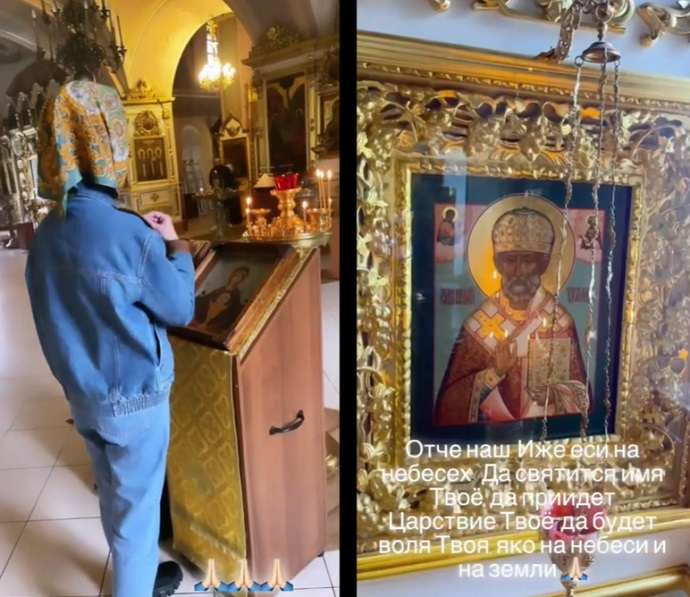Dressed Olga Buzova posted a video from the church, but still ran into criticism