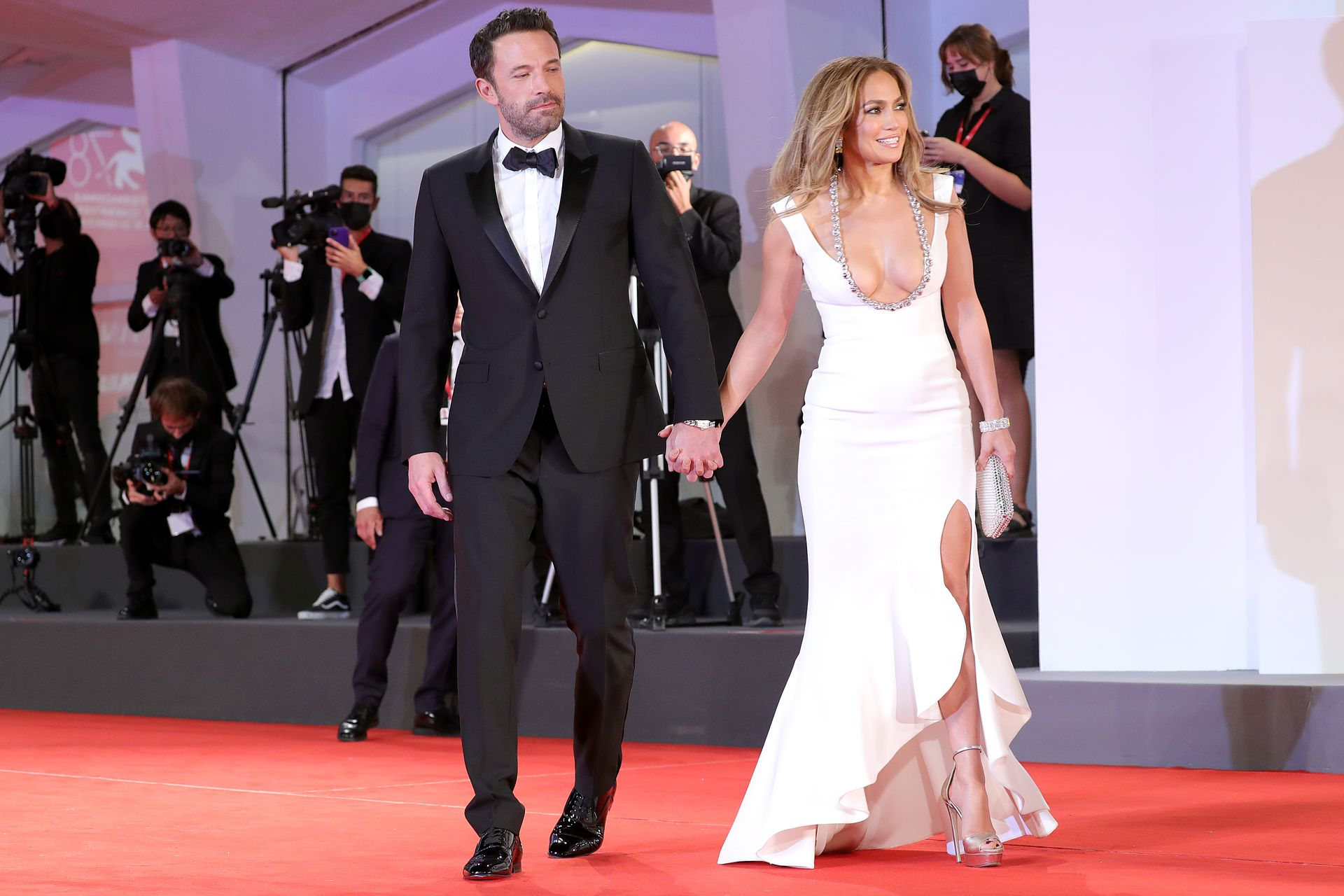 Jennifer Lopez and Ben Affleck are greeted by fans at the Venice Festival